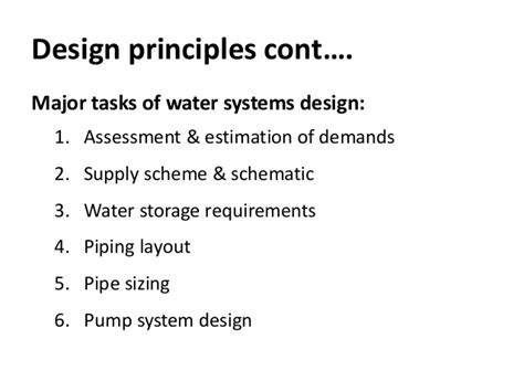 design criteria for hot water supply system cold water supply and pipe sizing