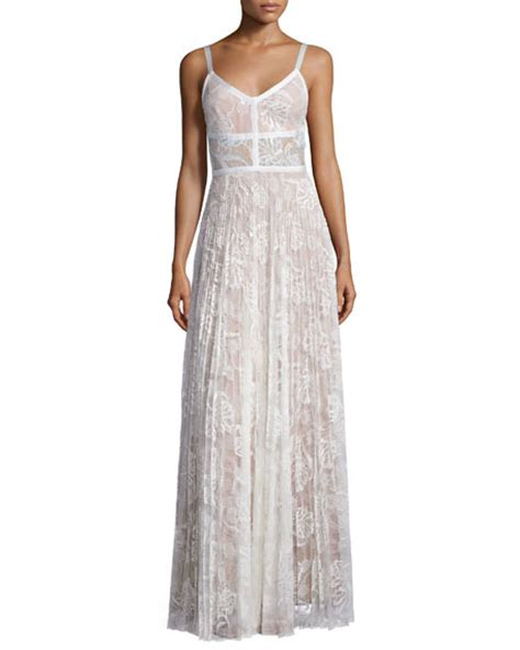 Isabell Maxi White by Pleated Lace Maxi Dress White Neiman