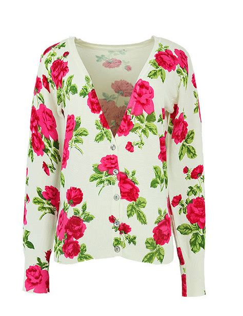 Floral Print Cardigan v neck floral print cardigan sweater knitwear