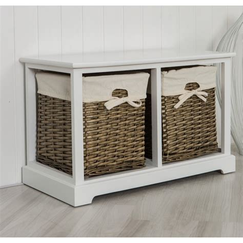 storage bench with wicker baskets two drawer white storage bench with natural wicker baskets