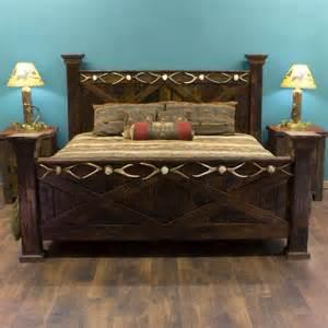 Barn Wood Bed Frame Antler And Barnwood Bed