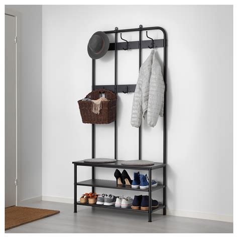 shoe and coat storage pinnig coat rack with shoe storage bench black 193 cm ikea
