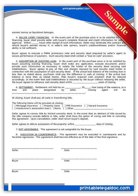 Agreement Letter For Land Free Printable Contract To Sell On Land Contract Form Generic