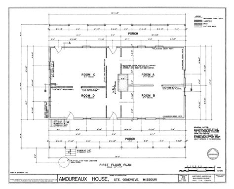 house plan drawing file drawing of the first floor plan amoureaux house in ste genevieve mo png