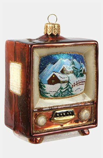 glass ornaments television and vintage television on