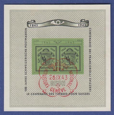 Briefmarken Schweiz Brief schweiz 1943 100 jahre briefmarken genf quot doppelgenf quot mi