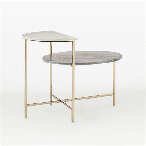 marble geo stepped side table west elm