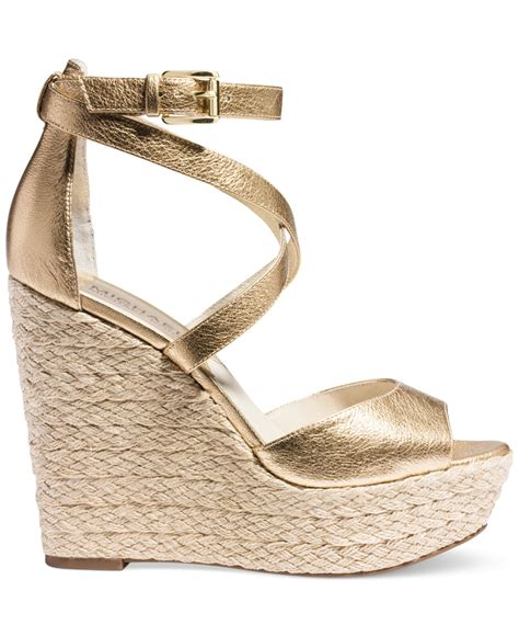 Wedges Gloss Gold michael kors michael gabriella platform wedge sandals in