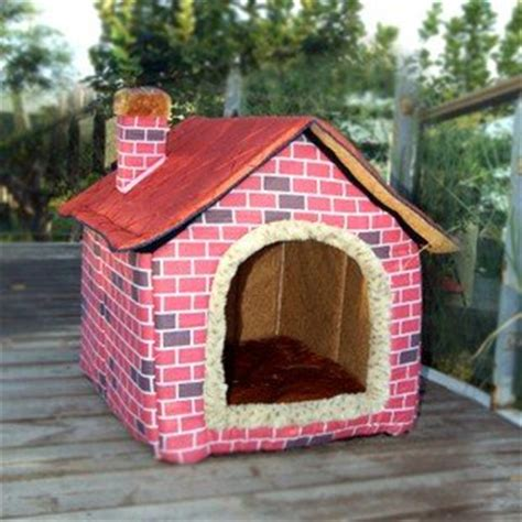 Puppy Pet Bed House L Pink brick wall style pet house large bed large s m l pink