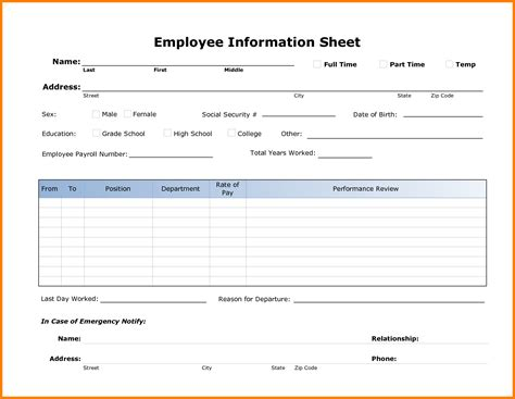 employee information form template free 12 personal information sheet template word ledger paper