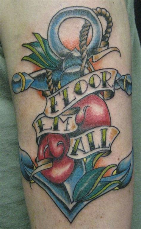 Traditional Tattoo With Anchor And Boxing Gloves By Ariel Boxing Gloves Tattoos Pictures
