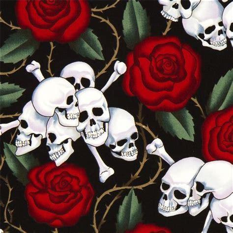 Ballard Design Store black alexander henry fabric with roses and skulls