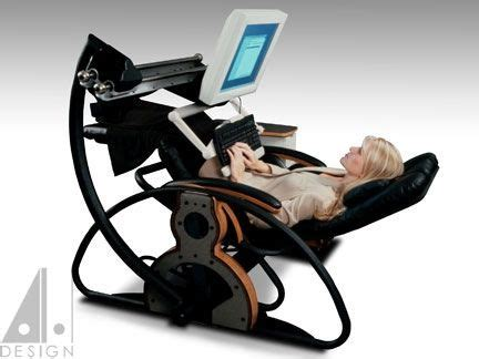 recliner chair with laptop table supine workstation using a relax the back zero gravity