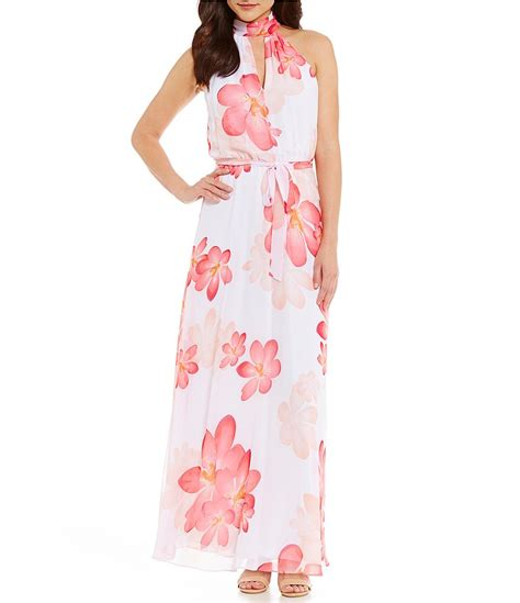 Calvin Maxy calvin klein floral halter maxi dress dillards