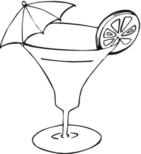 disegni da colorare cocktail con limone e ombrellino