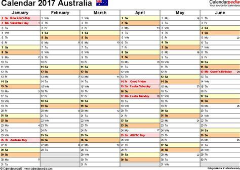 Calendar Template Pdf Free Australia Calendar 2017 Free Printable Pdf Templates