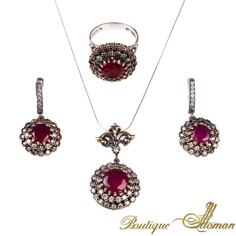 ruby silver set classic jewelry from istanbul