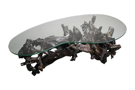 driftwood glass top coffee table 70s driftwood coffee table kidney shaped glass top chairish