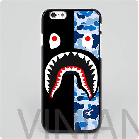 Shark Army Blue Iphone 4 4s 5 5s 5c 6 6s 7 Plus bape shark army blue black skin mobile phone cases cover housing for iphone 4 4s 5 5s 5c 6