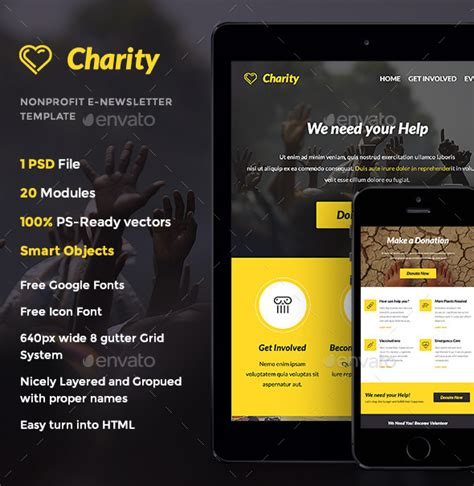 charity newsletter template charity nonprofit e newsletter template by thememill
