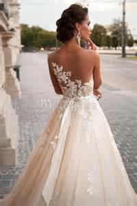 Wedding Dresses In Glasgow Robe De Mari 233 E Romantique En Tulle Avec Dentelle 224 Encolure Transparent De Grande Tra 238 Ne