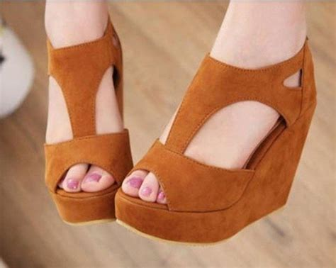brown sandal heels new fashion dress brown wedge shoes s high