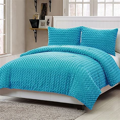 fur bedding sets toddler bedding sets gt vcny home rose fur 3 piece full comforter set in blue from buy buy baby
