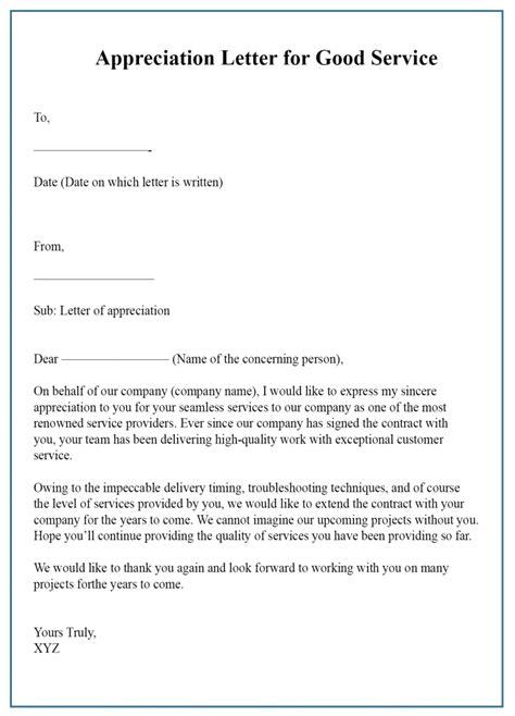 appreciation letter service format sample