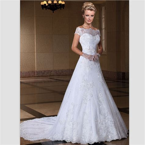 White Lace Wedding Dresses by Aliexpress Buy Romatic White Lace Wedding Dresses