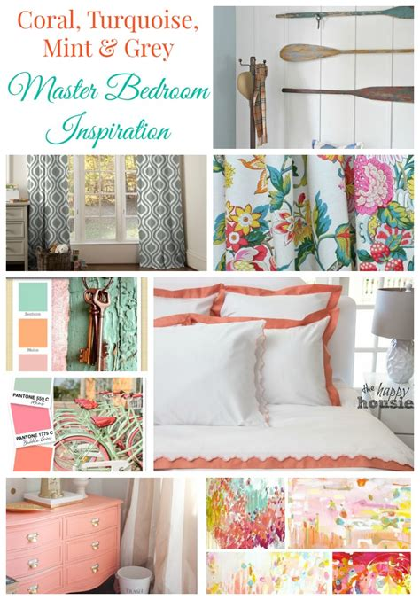 coral turquoise mint grey master bedroom inspiration