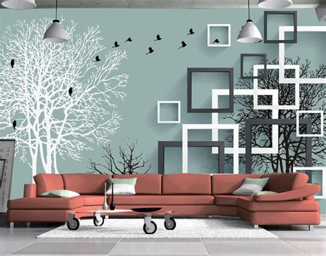Abstract Wallpaper For Living Room | stereoscopic 3d abstract forest birds backdrop mural