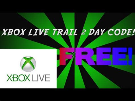 Free Xbox Live Gold Codes Giveaway - free xbox live gold 2 day trial code giveaway youtube