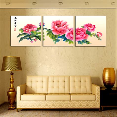 cheap home decor from china unframed 3 sets canvas painting red chinese style flowers
