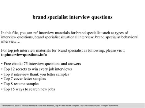 brand specialist interview questions