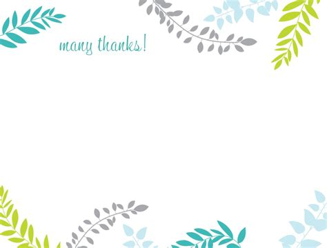 note card template with borders tropical leaves thank you card