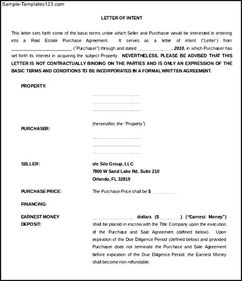 Sle Of Letter Of Intent Doc Purchase Letter Of Intent For Commercial Property Word Doc Sle Templates