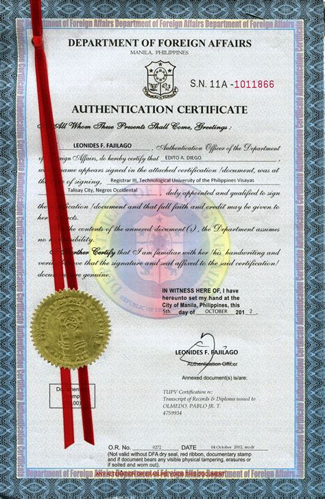 Authorization Letter Ribbon dfa authentication or ribbon