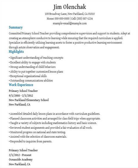 resume format for primary teachers pdf 52 resume format sles sle templates