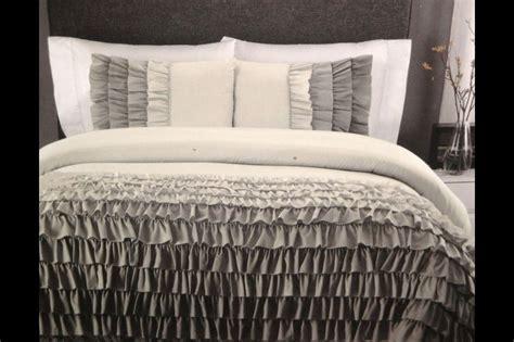 ruffle queen comforter set cynthia rowley shades of grey ombre ruffle ruffles full