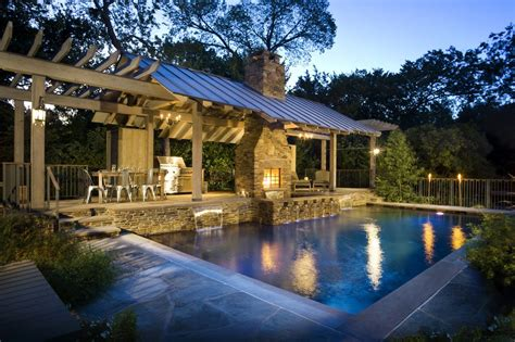 Outdoor patio roof ideas pool rustic with custom pool
