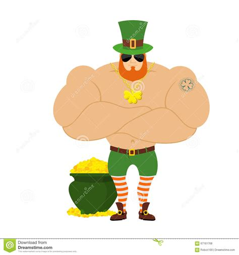 strong leprechaun powerful big leprechaun in green hat