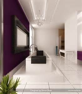Modern glam defines this bathroom where the eggplant color scheme