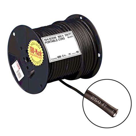 10 4 Mc Cable - 250 ft 10 4 black portable power soow electrical cord