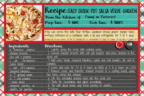 salsa recipe card template digital scrapbook templates 4x6 recipe card 2