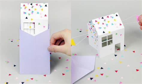 3d Paper House Invitations Diy Paper Invitation 3d Paper Crafts House Plans