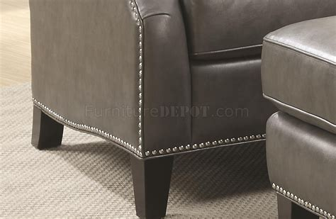 grey leather chair and ottoman 902408 accent chair w ottoman in grey bonded leather by