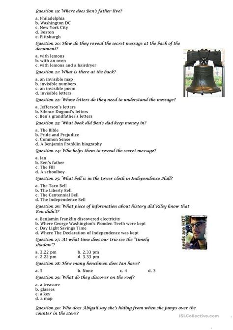 film quiz worksheet national treasure film quiz worksheet free esl printable