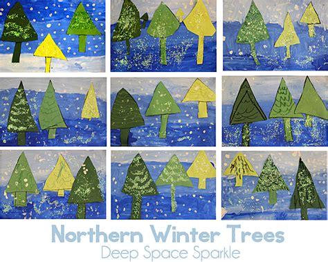 Landscape Lesson For Kindergarten Here Near Far Winter Trees Space Sparkle