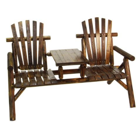 wood table with bench seat wood patio bench with table porch garden bench log style 2