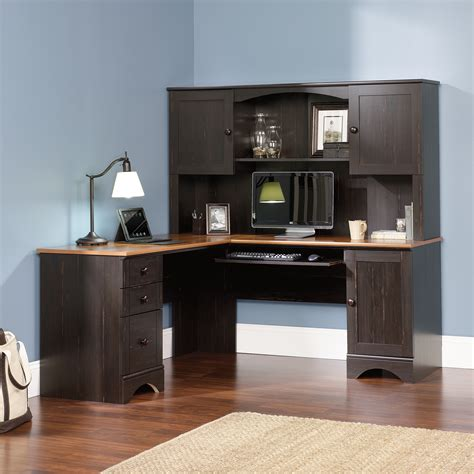 sauder harbor view computer desk and harbor view hutch 403786 sauder
